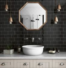 TILE SAMPLES New York FLAT Black Gloss Metro Bathroom Wall Tiles 10 x 20cm