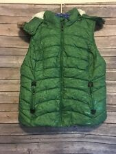 Green Tea Womens Vest Size Large Button Zipper Removable Hood Quilted Green