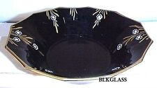 Imperial Ebony Black Glass Oval Bowl with Maytime Decoration