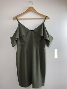 Pilgrim Melbourne Stylish Cocktail Dress Size 14 Khaki Olive Green