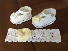 crochet pattern for baby headband and booties using no 10 crochet thread