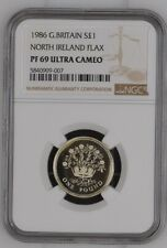 More details for 1986 silver proof £1 north ireland flax great britain ngc pf69uc