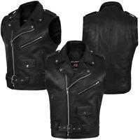 4Fit™ Men's Black Cowhide Genuine Leather Stylish vest for biker adjustable belt