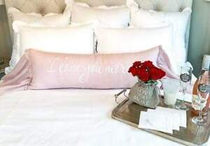 "Dusty Pink Linen ""I Love You More"" Lumbar Decorative Pillow"