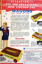 Lincoln Logs Build TOY WAGONS for Chidren Vintage Advertising Print 1940 Matted