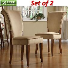 VELVET SIDE CHAIRS LIGHT BROWN MICROFIBER UPHOLSTERED STURDY PARSON DINING CHAIR
