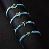 Aniaml Turquoise Wish Bracelet Women Adjustable Blue Rope Cuff Bangle Jewelry