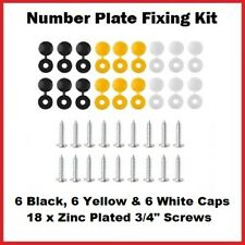 36 Piece Caps and Screws Car Number Plate Fixing Fitting Kit, 3 Assorted Colours