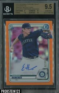 2020 Bowman Chrome Orange Refractor Emerson Hancock RC AUTO /25 BGS 9.5
