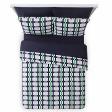 Mainstays Emmit Bed-In-A-Bag Set Twin Gray, Navy Blue, Green Plaid