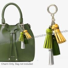 NWT 🌴 MICHAEL KORS CHARMS LEATHER CASCADING TASSEL MULTICOLOR TRUE GREEN YELLOW