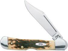 Case XX 133 Copperlock Pocket Mini Knife SS Clip Blade Amber Bone Handle Knives