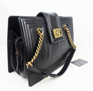 Authentic CHANEL Black Leather 'Boy' Tote Bag Gold Hardware