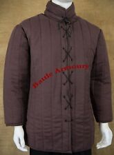 Medieval thick padded Brown Gambeson With lace Aketon Armor reenactment SCA
