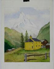 Aquarelle Zermatt Valais Suisse Henri Gommers 1990 Montagne Cervin