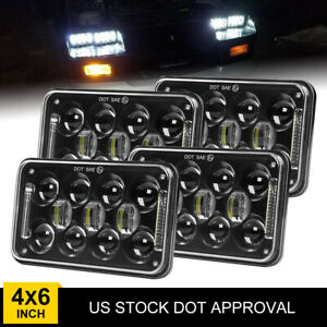 "DOT Approval 4x6"" Hi&Lo LED Square Headlight for Freightliner Kenworth Peterbilt"