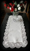 Dresser Scarf Classic Rose  European Lace Antique White Table Runner 34""