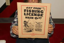 Vintage 1930's Get Your Fishing License Here Winchester Store Hunting Sign