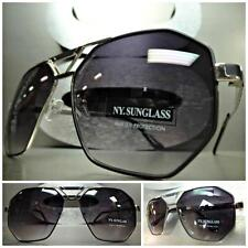 CLASSIC OVERSIZED 70s VINTAGE RETRO Style SUN GLASSES Large Silver & Black Frame