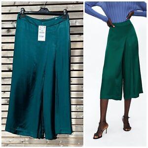 Zara Size M 10 Bottle Green Wide Leg Pleat Front Culottes Cropped Trousers BNWT