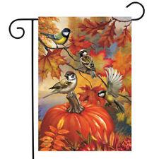 """Autumn Bird Gathering Garden Flag Fall Pumpkin Chickadees 12.5"""" x 18"""""""