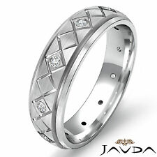 Eternity Wedding Diamond Band Grooved Bevel Step Edge Mens Ring Platinum 0.15Ct
