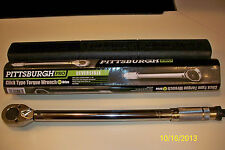 "**NEW** PITTSBURGH PRO 1/2"" DRIVE CLICK TYPE TORQUE WRENCH WITH HARD CASE"