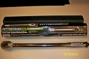 """**NEW** PITTSBURGH PRO 1/2"""" DRIVE CLICK TYPE TORQUE WRENCH WITH HARD CASE"""