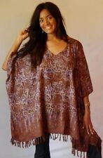 brown poncho top  one size -M L XL 1X 2X 3X batik fringe zz116