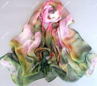 New Green  Georgette Chiffon  Spring Scarf Art Painting Big Pink Lotus Flowers