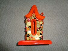 Hand made wood painted buttons butterfly house Kandu Krafts orange stained wood