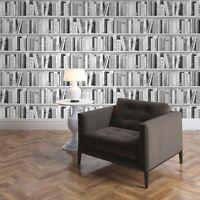 Plata Moda Estante Para Libros de Biblioteca Papel Pintado - Muriva 139502