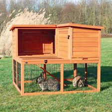 Trixie Natura Eck Kleintierstall Kaninchenstall mit Freilaufgehege 2 Etagen, ...
