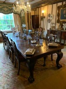 Magnificent 12ft Mahogany Antique Dining Table Fantastic Condition w 10 Chairs