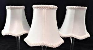 """Clip-On Lamp Shade, Lot of 3, White Bell Scalloped, 3"""" x 5 1/2"""" x 5"""" H"""