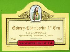 "Etiquette Vin de Bourgogne-Gevrey Chambertin 1er Cru""-Groubier-Réf.n°442"