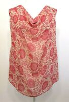 CABI tank blouse top pink beige floral sleeveless draped neckline semisheer Sz S