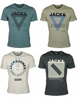 MENS NEW TSHIRT SHORT SLEEVE JACK & JONES TEES IN GREY WHITE BLUE COLOURS S-2XL