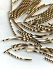 30 Genuine 14kt. Gold Filled Curved & Long Smooth Tube Beads - 24x1.5mm