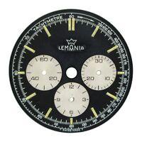 19670s Lemania Chronograph Dial Part Ref 9757 Watch Repair Black Dial