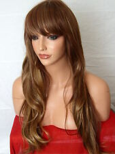Brown Blonde Fashion Long Stage Wavy Curly Full Ladies Hair Wig skin top Wig D21