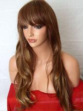 Etapa De Moda Marrón Rubio Largo Ondeado Rizado Peluca de Cabello Completa Piel Top señoras de la peluca D21