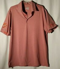 Under Armour Heat Gear Polo Orange/Gray Stripe. Large. Loose Fit. Patch Sewn On