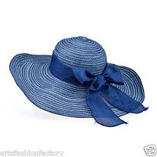 Women Floppy Navy Hat Wide Brim Beach Straw Sun Cap with Blue Bow