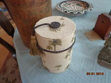 Burlap Container Lift off top Swing tassel on top Palm Trees paper Lined