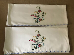Vintage Embroidered Pair Of White Pillowcases