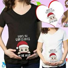 Trendy Tops For Pregnant Women Santa Maternity Clothes Christmas Shirt Clothes