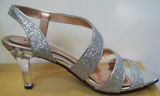 Mootsies Tootsies Mojericho Silver Clear Heel Prom Evening Dress Shoes Sz 8.5