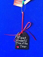 """NEUF Noël Décoration Tenture noir céramique """" le plus merveilleux temps"""