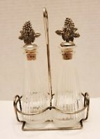 Vintage Ribbed Glass Vinegar & Oil Cruet Set W/With Silver Plated Holder, Grapes